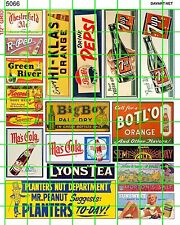 5066 DAVE'S DECALS ADVERTISING SETS - ASST'D SODA COLA GROCERY PEANUTS SIGNAGE