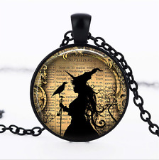 Witch and Raven Black Glass Cabochon Necklace chain Pendant Wholesale