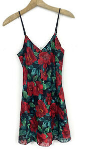 Vintage Victoria's Secret Gold Label Night Gown Size Small Slip Bow Back Red