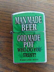 KALAN Flip Top Lighter man made beer god made pot who do you trust.