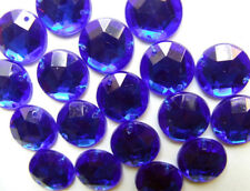 120 Blue Faceted Beads Acrylic Rhinestone Gems 12mm Round Flat Back Sew On Bling