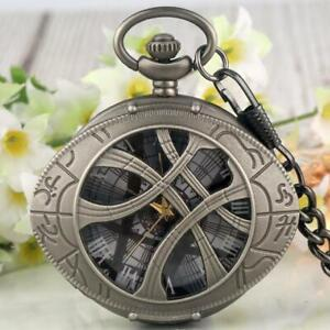 Antique Doctor Who Eye of Agamotto Quartz Pocket Watch Pendant Necklace Chain