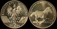 Pologne. 2 Zloty. 2014 (Pièce KM#Y.896 Neuf) Cheval polonais konik