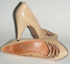 Vintage Rosina Ferragamo Schiavone Ladies High Heel Shoes 8.5 M Leather Peep Toe