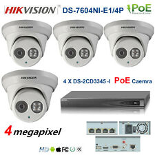 HIKVISION DS-2CD3345-I 4MP EXIP NET Camera 4CH CCTV 4X PoE NVR DS-7604NI-E1/4P