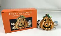 Fitz & Floyd Halloween Bunny Blooms Candy Cookie Treat Jar in Box