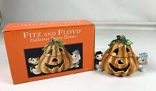 Fitz & Floyd Halloween Bunny Blooms Candy Cookie Treat Jar in Box