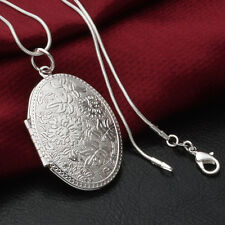Retro Women Elegant Silver Oval Flower Locket Pendant Snake Chain Necklace Gift