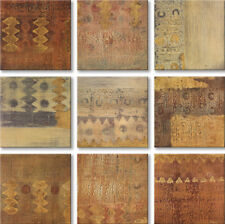 """12""""x12"""" COPPER ECHOES 9PC SET by REBECCA KOURY - BRONZE TONED ABSTRACT CANVAS"""