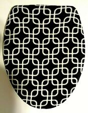 BLACK WITH WHITE DESIGN FLEECE ELONGATED TOILET SEAT LID COVER
