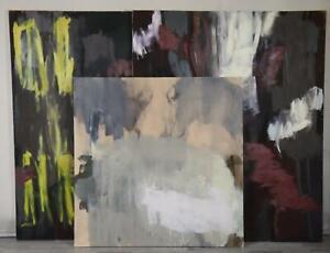 3x Ölgemälde abstrakte Komposition unsigniert bis 180x150 cm (MÖ3468)