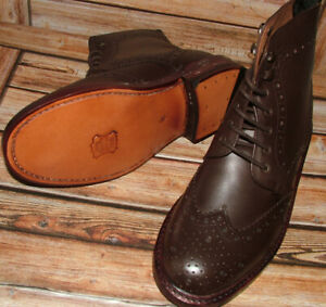 VtgNew Mens Church Walk Hand Made All Leather Dark Brown Brogue Boots Size 8