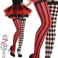 Ladies Clown Jester Tights Halloween Adult Harlequin Freakshow Fancy Dress New