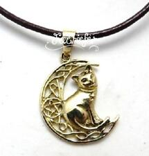 Bronze Cat on Pentagram Moon necklace Lisa Parker on black waxed cord pagan gift