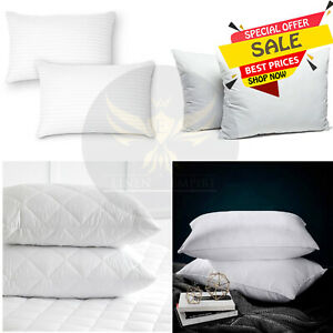 Large Soft Pillows Bounce Back Quilted Microfibre Firm Deluxe Striped Pillows