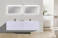 "MORENO 84"" DOUBLE SINK HIGH GLOSS WHITE WALL MOUNT BATHROOM VANITY/ACRYLIC SINK"