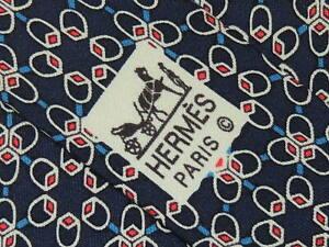 """HERMÈS MEN'S TIE NAVY BLUE, RED/GEOMETRIC W: 3.50"""" L: 55""""  7053 TA"""