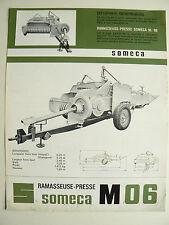 Prospectus Tracteur   SOMECA  Presse M06   1965  brochure catalogue