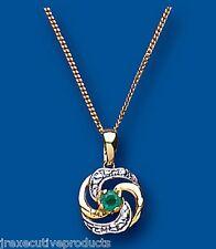 """Emerald Colgante Emerald Collar Oro Amarillo Esmeralda colgante 18"""" Cadena"""