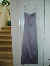 A.B.S. ALLEN SCHWARTZ Silver Formal Evening Gown Sz 2 Platinum Prom Dress $0 S/H