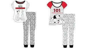Women 101 Dalmations Pyjamas Ladies Nightwear Character Loungewear Dog White Pjs