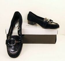 NIB Alfani Black Suede Patent Leather Croc Slip On Loafers Flats Shoes 6M (S168)