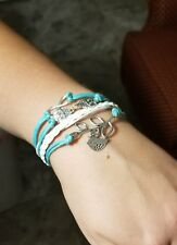 Fashion Leather Cute Infinity Charm Bracelet Jewelry Various color options