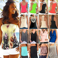 Boho Women Sleeveless Tank Top Beach Vest Tee Shirt Summer Casual T-Shirt Blouse