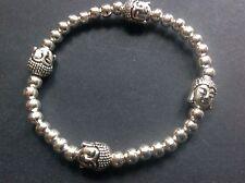 bijoux buddha head silver plated stretch bracelet boho festival gypsy