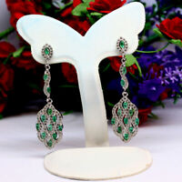 NATURAL GREEN EMERALD & WHITE CZ LONG EARRINGS 925 STERLING SILVER