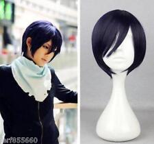 Noragami Yato short black purple cosplay costume wig BOB LOLITA WIG /D*