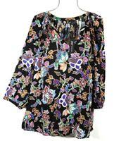 Jones New York Women's 3X Fall Black Floral Boho Top Blouse Tunic NWT