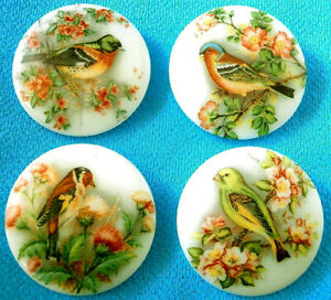 Collection of 4 Czech Glass Decal Buttons #G634 - 4 DIFFERENT BIRDS