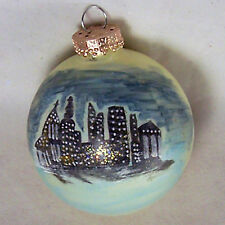 Cityscape Xmas Tree Ornament Blown Glass Ball Modern Skyline Glitter Vintage 3""