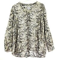 Millers Women's Size 16 Long Sleeve Button Up V-Neck Animal Print Top Blouse