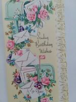 UNUSED Vtg PINK Roses MAILBOXES w BIRTHDAY Wishes Embossed GREETING CARD