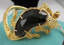 Fantastic ALEXANDER MCQUEEN Goldtone Salamander Skull Rock Crystal Bracelet