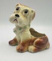 "Vintage Dog Bulldog Planter Figurine Brown White Collar 6"" h Anthropomorphic"