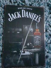 Jack Daniel's Bottle & Pool Cue Metal Sign Plaque ManCave Shed Pubbar Garage