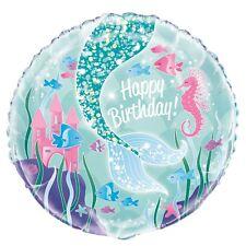 Happy Birthday Party Decoration Mermaid Ocean Helium Air Foil Balloon Girl 45cm