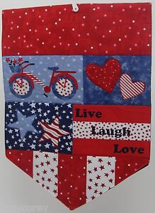 Americana Applique Red Blue Live Laugh Love Stars Hearts Patriotic Runner 13x36