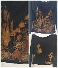 Yuka Womens Black Pullover Boutique Sweater T3 M Boat Neck Stretch Geometric