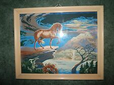 "VINTAGE FRAMED PAINT BY NUMBER WILD HORSE STALLION MID CENTURY 22"" X 18"""