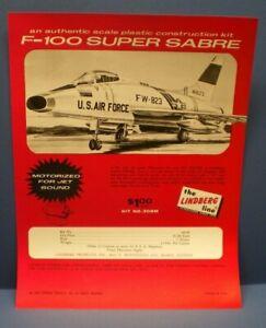 """LINDBERG 1966 """" F-100 SUPER SABRE """" single sided dealer sales flyer L@@K!"""