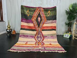 Handmade Moroccan Boujaad Rug 4'8x6'8 Vintage Geometric Colorful Berber Wool Rug