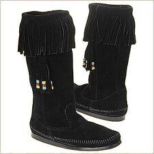 Minnetonka Womens 1629 Black 3 In 1 Calf Hi Suede Fringe Hardsole Boots 6M New