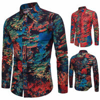 Men's Fashion Cotton Long Sleeve Basic Floral Shirts Casual Dress Shirts Tops