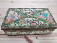 Old tin plate can with motifs from Macau original very old case 50's
