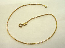 "9ct Yellow Gold Box Link Anklet 10"" CH483 1.6 grams"