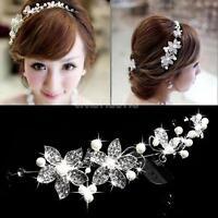 Crystal Rhinestone Pearl Flower Headband Wedding Bridal Hair Pin Clip Diamante